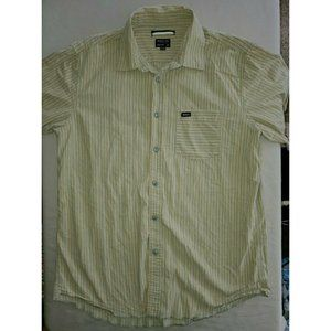 RVCA Mens Striped Short Sleeve Button Up Shirt